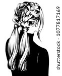 double braided updo hairstyle... | Shutterstock .eps vector #1077817169