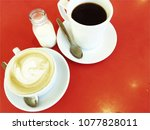 coffee time or tea time. a cup... | Shutterstock . vector #1077828011