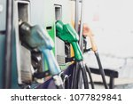 there are fuel pumps in gas... | Shutterstock . vector #1077829841