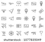 thin line icon set   fly ticket ... | Shutterstock .eps vector #1077835049