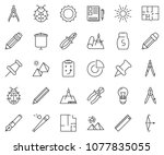 thin line icon set   circle... | Shutterstock .eps vector #1077835055