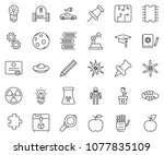 thin line icon set   robot hand ... | Shutterstock .eps vector #1077835109