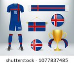 iceland soccer set collection.... | Shutterstock .eps vector #1077837485