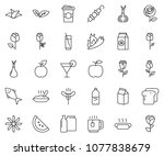 thin line icon set  ... | Shutterstock .eps vector #1077838679