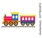 cartoon cute train with railway ... | Shutterstock .eps vector #1077841874