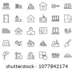 thin line icon set  ... | Shutterstock .eps vector #1077842174
