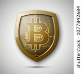 protect hud bitcoin. digital... | Shutterstock .eps vector #1077842684