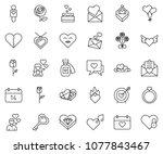 thin line icon set   rose... | Shutterstock .eps vector #1077843467