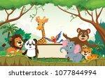wild animal cartoon with blank... | Shutterstock .eps vector #1077844994