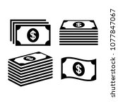 stack of dollar money icons.... | Shutterstock .eps vector #1077847067