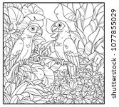 wild jungle with two parakeets... | Shutterstock .eps vector #1077855029