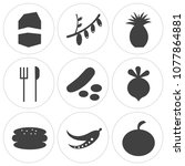 set of 9 simple editable icons... | Shutterstock .eps vector #1077864881