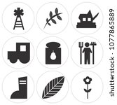 set of 9 simple editable icons... | Shutterstock .eps vector #1077865889