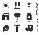 set of 9 simple editable icons... | Shutterstock .eps vector #1077866045