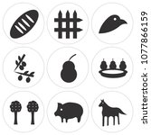 set of 9 simple editable icons... | Shutterstock .eps vector #1077866159