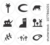 set of 9 simple editable icons... | Shutterstock .eps vector #1077866201