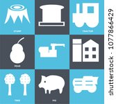 set of 9 simple editable icons... | Shutterstock .eps vector #1077866429