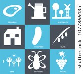 set of 9 simple editable icons... | Shutterstock .eps vector #1077866435
