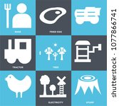 set of 9 simple editable icons... | Shutterstock .eps vector #1077866741