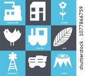 set of 9 simple editable icons... | Shutterstock .eps vector #1077866759