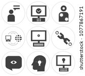 set of 9 simple editable icons... | Shutterstock .eps vector #1077867191