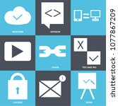 set of 9 simple editable icons... | Shutterstock .eps vector #1077867209