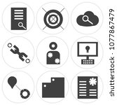 set of 9 simple editable icons... | Shutterstock .eps vector #1077867479