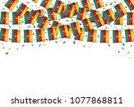 cameroon flag garland white...   Shutterstock .eps vector #1077868811