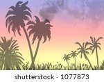 silhouette of a paradise beach... | Shutterstock . vector #1077873