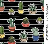 cactus seamless pattern and... | Shutterstock .eps vector #1077880625