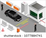 customs clearance zone with... | Shutterstock .eps vector #1077884741