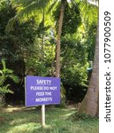 do not feed monkeys sign in... | Shutterstock . vector #1077900509
