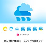 modern weather icons set | Shutterstock .eps vector #1077908579