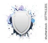 banner shield blot presentation ... | Shutterstock . vector #1077911201