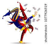 dancing joker with playing... | Shutterstock .eps vector #1077926519