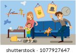 domestic violence. inadequate...   Shutterstock .eps vector #1077927647