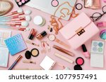 fashion blogger workspace with... | Shutterstock . vector #1077957491