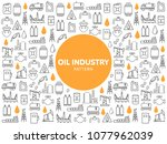 oil industry line icons pattern | Shutterstock .eps vector #1077962039