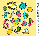 vector tropical summer patches... | Shutterstock .eps vector #1077962561