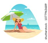 a woman in a bathing suit and... | Shutterstock .eps vector #1077963689