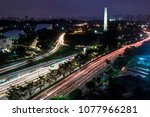 aerial night view of traffic on ... | Shutterstock . vector #1077966281