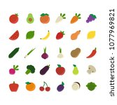 fruits and vegetables color... | Shutterstock .eps vector #1077969821