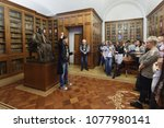 Small photo of ST. PETERSBURG, RUSSIA - APRIL 20, 2018: People in the depository of personal library of French Enlightenment writer Voltaire in the National Library of Russia during Library Night