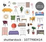 vector interior design elements.... | Shutterstock .eps vector #1077980414