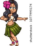 hawaiian hula dancer. vector... | Shutterstock .eps vector #1077995174