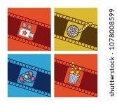 set of cimena cards cartoons | Shutterstock .eps vector #1078008599