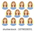 emotions of woman face. facial... | Shutterstock . vector #1078028351