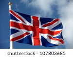 British Flag Waving In The Wind