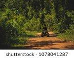 woman riding quad atv running... | Shutterstock . vector #1078041287