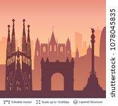 barcelona famous city scape....   Shutterstock .eps vector #1078045835